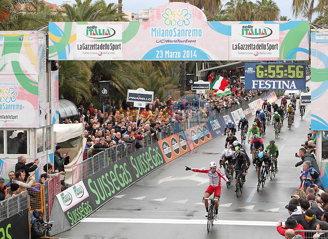 Alexander Krisoff (NOR) Katusha wins the 105th Milano-Sanremo 2014 this afternoon. Kristoff beat Fabian Cancellara (SUI) Trek Factory Racing and Ben Swift (GBR) Sky Procycling, Sanremo, Italy. 23rd March 2014.     <br /> Photo: Daniele Bottallo/LaPresse/www.newsfile.ie
