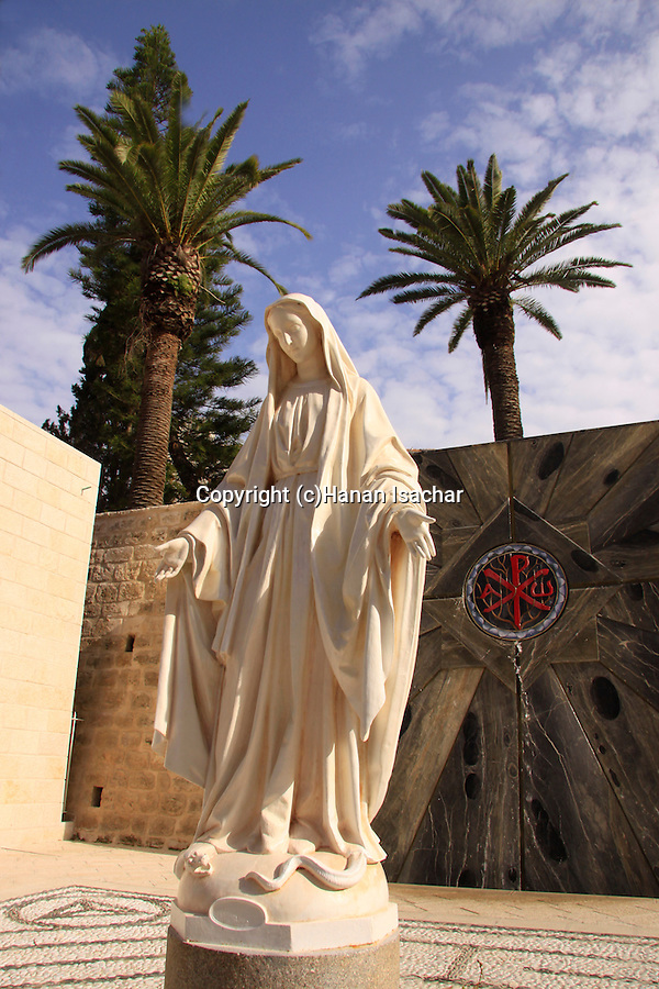 Israel, Lower Galilee, a statue of St. Mary at the Church of the Annunciation in Nazareth