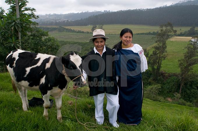 Proyecto de vacas lecheras para la comunidad de Otavalo financiado por la emrpesa Lafarge Cementos....