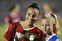 BOYDS, MD - JULY 20: Washington Spirit forward Mallory Mal Pugh (11) smiles as she is presented with flowers by a youth soccer player for playing in the World Cup after the National Women's Soccer League (NWSL) game between the Houston Dash and Washington Spirit July 20, 2019 at Maureen Hendricks Field at Maryland SoccerPlex in Boyds, MD. (Photo by Randy Litzinger/Icon Sportswire)