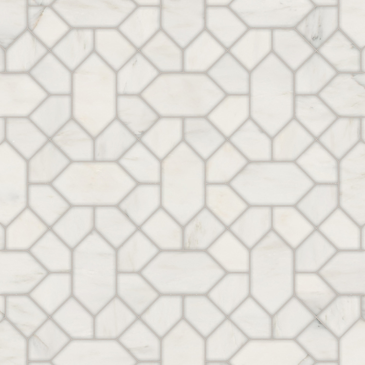 Winona, a waterjet stone mosaic, shown in polished Calacatta Radiance, is part of the Semplice® collection for New Ravenna.