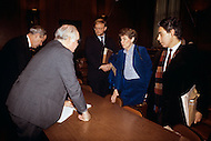 UN Headquaters, New York - March 2, 1984. U.S. Ambassador Jeane Kirkpatrick with Senators at the U.S. Senate Commitee. She (December 19, 1926 - December 7, 2006) was the first female U.S. ambassador to the United Nations, who was renown for her support of anticommunist governments and authoritarian dictatorships.
