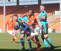 Blackpool's Nathan Delfouneso in action with Fleetwood Town's Ashley Eastham<br /> <br /> Photographer Mick Walker/CameraSport<br /> <br /> The EFL Sky Bet League One - Blackpool v Fleetwood Town - Saturday 14th April 2018 - Bloomfield Road - Blackpool<br /> <br /> World Copyright &copy; 2018 CameraSport. All rights reserved. 43 Linden Ave. Countesthorpe. Leicester. England. LE8 5PG - Tel: +44 (0) 116 277 4147 - admin@camerasport.com - www.camerasport.com