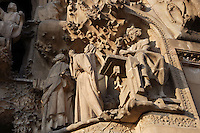 Jesus working in a bank of carpenter, sculptures by Llorenç Matamala i Piñol; Joseph and Mary seeking Jesus in the temple, sculptures by Llorenç Matamala i Piñol, Faith hallway, Nativity façade, La Sagrada Familia, Roman Catholic basilica, Barcelona, Catalonia, Spain, built by Antoni Gaudí (Reus 1852 ? Barcelona 1926) from 1883 to his death. Still incomplete. Picture by Manuel Cohen