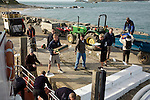 Unloading supplies from the ferry Island of Herm, Channel islands, Great Britain