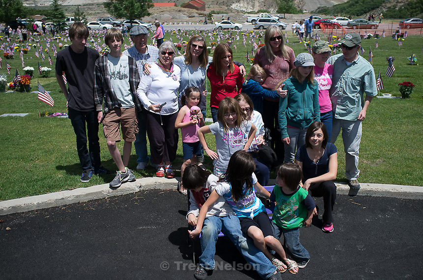 Quayle and Wilcox and Zambrano family at cemetery for Memorial Day Monday, May 28, 2012 in Bluffdale, Utah. Anthony Quayle, Noah Nelson Nathaniel Nelson Laura Nelson
