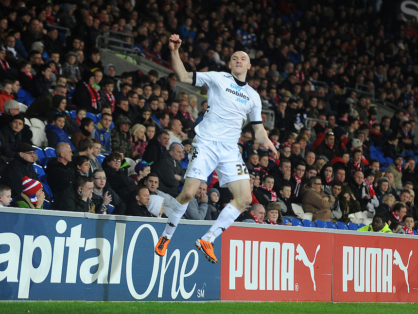 Derby's Conor Sammon celebrates scoring his sides first goal ..Football - npower Football League Championship - Cardiff City v Derby County - Tuesday 05th March 2013 - Cardiff City Stadium - Cardiff..© CameraSport - 43 Linden Ave. Countesthorpe. Leicester. England. LE8 5PG - Tel: +44 (0) 116 277 4147 - admin@camerasport.com - www.camerasport.com
