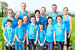 St Brendans  runners at the Kerry Cross Country championships in Firies on Sunday front row l-r: aaron Horgan, Caragh Kenny O'Sullivan, Daisey Nowak, Lilly Nowak, Caoilinn O'connor. Back row: Moira Horgan, Arthur Nowak, Kirstie Nowak, Cathy Quilter, Pat Sheehy and Yvonne Quill