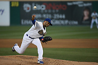 Jordan Sheffield (9) of the Rancho Cucamonga Quakes pitches against the Stockton Ports at LoanMart Field on August 15, 2017 in Rancho Cucamonga California. Rancho Cucamonga defeated Stockton, 11-9. (Larry Goren/Four Seam Images)