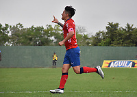MONTERÍA - COLOMBIA ,20-10-2018: German Cano (Izq.)  jugador del jugador del Independiente Medellín convierte su gol contra Jaguares de Códoba durante partido por la fecha 16 de la Liga Águila II 2018 jugado en el estadio Municipal Jaraguay de Montería . / German Cano player of Independiente Medellin scores his goal agaisnt of   Jaguares of Cordoba  during the match for the date 16 of the Liga Aguila II 2018 played at Municip al Jaraguay Satdium in Monteria City . Photo: VizzorImage /Andrés Felipe López  / Contribuidor.