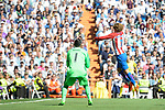 Real Madrid's Keylor Navas and Atletico de Madrid's Antoine Griezmann during La Liga match between Real Madrid and Atletico de Madrid at Santiago Bernabeu Stadium in Madrid, April 08, 2017. Spain.<br /> (ALTERPHOTOS/BorjaB.Hojas)