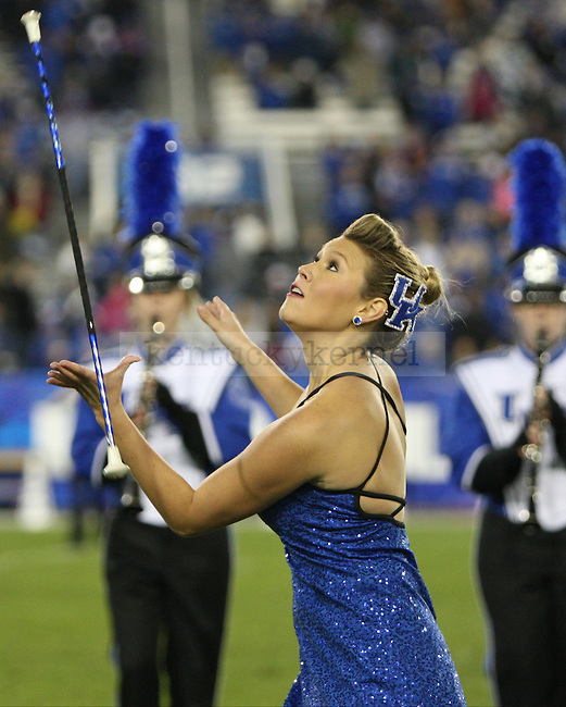 The UK marching band performs during halftime of the University of Kentucky Homecoming football game against Alabama State at Commonwealth Stadium in Lexington, Ky., on Saturday, November 2, 2013. Photo by Tessa Lighty | Staff