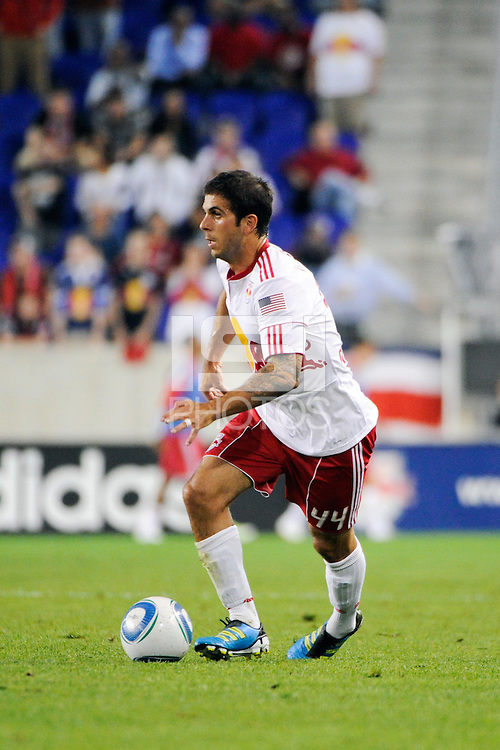 Carlos Mendes (44) of the New York Red Bulls. Real Salt Lake defeated the New York Red Bulls 3-1 during a Major League Soccer (MLS) match at Red Bull Arena in Harrison, NJ, on September 21, 2011.