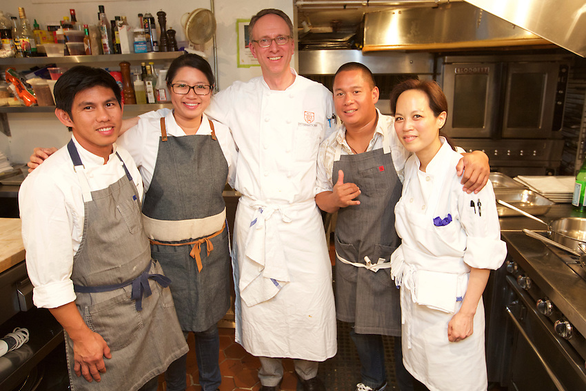 New York, NY - May 19, 2016: Chef Isaac Bancaco of Ka'ana Kitchen at the Andaz Maui and his team present 'Escape to Maui' at the James Beard House.<br /> <br /> CREDIT: Clay Williams for the James Beard Foundation.<br /> <br /> &copy; Clay Williams / claywilliamsphoto.com