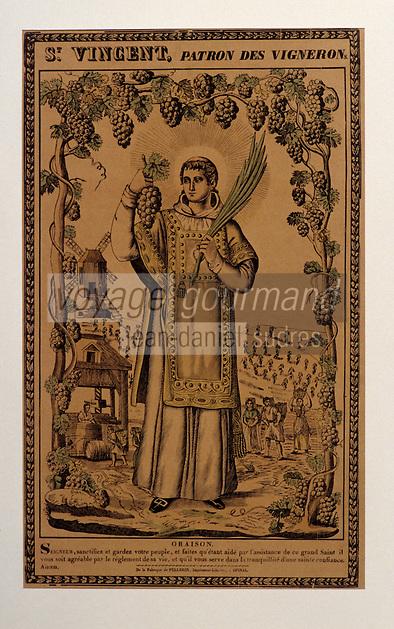 Europe/France/Champagne-Ardenne/51/Marne/Epernay: Le musée municipal - Affichette - St-Vincent patron des vignerons - Image d'Epinal