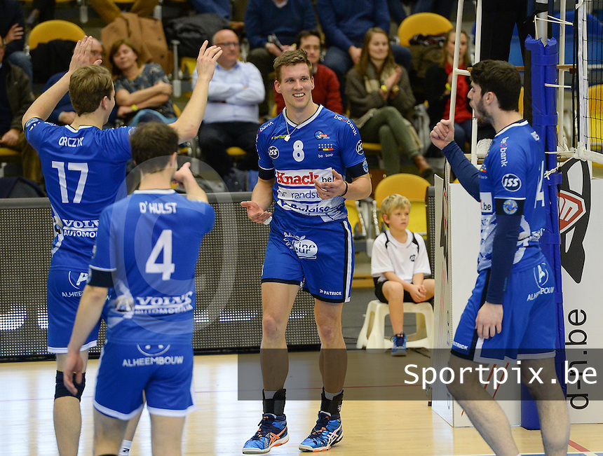 20161228 - ROESELARE ,  BELGIUM : Roeselare's Matthijs Verhanneman (8) pictured celebrating during the second semi final in the Belgian Volley Cup between Knack Volley Roeselare and Lindemans Aalst in Roeselare , Belgium , Wednesday 28 th December 2016 . PHOTO SPORTPIX.BE | DAVID CATRY