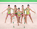 Brazil team group (BRA),<br /> AUGUST 20, 2016 - Rhythmic Gymnastics :<br /> Group All-Around Qualification, Rotation 2 Clubs and Hoop at Rio Olympic Arena during the Rio 2016 Olympic Games in Rio de Janeiro, Brazil. (Photo by Enrico Calderoni/AFLO SPORT)