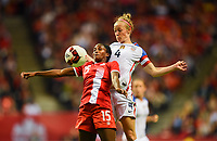 Vancouver, Canada - Thursday November 09, 2017: Nichelle Prince, Becky Sauerbrunn during an International friendly match between the Women's National teams of the United States (USA) and Canada (CAN) at BC Place.