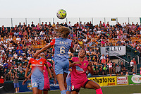 Rochester, NY - Saturday Aug. 27, 2016: Morgan Brian, Lynn Williams during a regular season National Women's Soccer League (NWSL) match between the Western New York Flash and the Houston Dash at Rochester Rhinos Stadium.