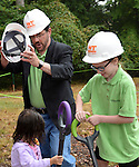 But to the rescue came the big boss of the whole project, Michael McCall, president and CEO of Innerarbor Trust.  Helping out is Lilly Coombs, 11, of Columbia, whose mother, Kirsten is treasure of Innerarbor Trust.