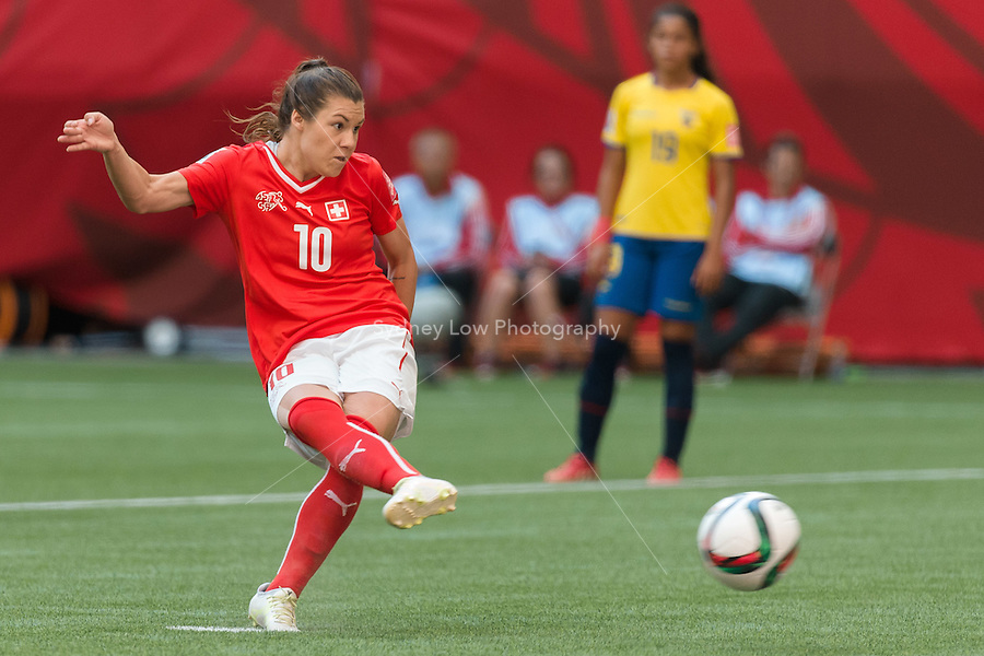 June 12, 2015: Ramona BACHMANN of Switzerland kicks the ball and scores during a Group C match at the FIFA Women's World Cup Canada 2015 between Switzerland and Ecuador at BC Place Stadium on 12 June 2015 in Vancouver, Canada. Switzerland won 10-1. Sydney Low/AsteriskImages