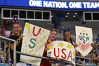 CHARLOTTE, NC - OCTOBER 03: Young fans of the United States moves prior to the game versus Korea Republic at Bank of American Stadium, on October 03, 2019 in Charlotte, NC.