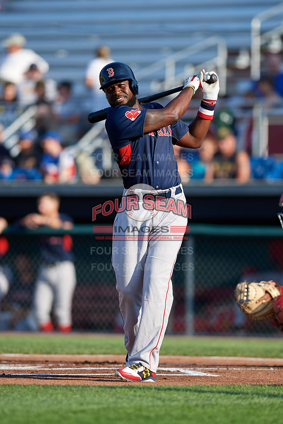 Lowell Spinners designated hitter Brandon Phillips (7) takes a warmup swing in the top of the first inning during a game against the Auburn Doubledays on July 13, 2018 at Falcon Park in Auburn, New York.  Phillips was promoted to Triple-A Pawtucket after the game; the former All-Star signed a minor league free agent deal with the Boston Red Sox June 27th and played six games with the Spinners batting .318 with one home run and 7 RBI's.  Lowell defeated Auburn 8-5 in ten innings (Mike Janes/Four Seam Images)