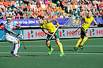 The Hague, Netherlands, June 13: Kieran Govers #27 of Australia scores a penalty corner (1-0) during the field hockey semi-final match (Men) between Australia and Argentina on June 13, 2014 during the World Cup 2014 at Kyocera Stadium in The Hague, Netherlands. Final score 5-1 (3-0)  (Photo by Dirk Markgraf / www.265-images.com) *** Local caption ***