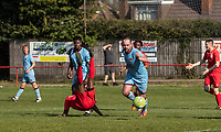 PENALTY APPEAL - Sodike A-Thompson of Flackwell Heath goes down after a challenge from Brett James of Tuffley Rovers, no penalty given during the UHLSport Hellenic Premier League match between Flackwell Heath v Tuffley Rovers at Wilks Park, Flackwell Heath, England on 20 April 2019. Photo by Andy Rowland.