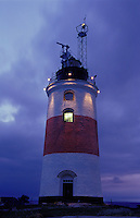 Söderarm Lighthouse displays many modern lights and surveillance equipment these days but no longer the original powerful gas lantern. It was a military outpost until 1997. Outer Stockholm Archipelago, Sweden.