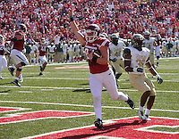 NWA Media/Michael Woods --10/25/2014-- w @NWAMICHAELW...University of Arkansas Alan D'Appollonio (82) celebrates after making a touchdown catch on a throw from Sebastian Tretola on a fake field goal play in the 2nd quarter of Saturday's game at Razorback Stadium in Fayetteville.