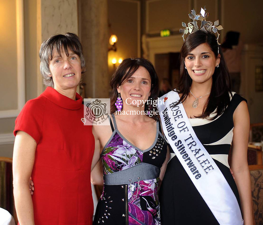 Geraldine Sheedy, South West Counselling, centre, with  former Rotary Club president Grace O'Neill,  and former Rose of Tralee Clare Kambamettu at  a  Killarney Rotary  Club Afternoon tea fashion show at The Malton Hotel . Picture: Eamonn Keogh (MacMonagle, Killarney)