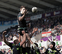 Ospreys' Rory Thornton claims the lineout<br /> <br /> Photographer Simon King/CameraSport<br /> <br /> Guinness PRO12 Round 19 - Ospreys v Leinster Rugby - Saturday 8th April 2017 - Liberty Stadium - Swansea<br /> <br /> World Copyright &copy; 2017 CameraSport. All rights reserved. 43 Linden Ave. Countesthorpe. Leicester. England. LE8 5PG - Tel: +44 (0) 116 277 4147 - admin@camerasport.com - www.camerasport.com