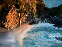 Waterfalls and ocean at Julia Pfeiffer State Park, California