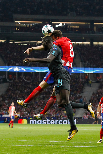 27th September 2017, Wanda Metropolitano, Madrid, Spain; UEFA Champions League, Atletico Madrid versus Chelsea; Saul Niguez Esclapez (8) Atletico de Madrid challenges Tiemoue Bakayoko (14) Chelsea