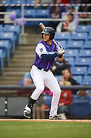 Binghamton Rumble Ponies first baseman Kevin Taylor (9) at bat during a game against the Akron RubberDucks on May 12, 2017 at NYSEG Stadium in Binghamton, New York.  Akron defeated Binghamton 5-1.  (Mike Janes/Four Seam Images)