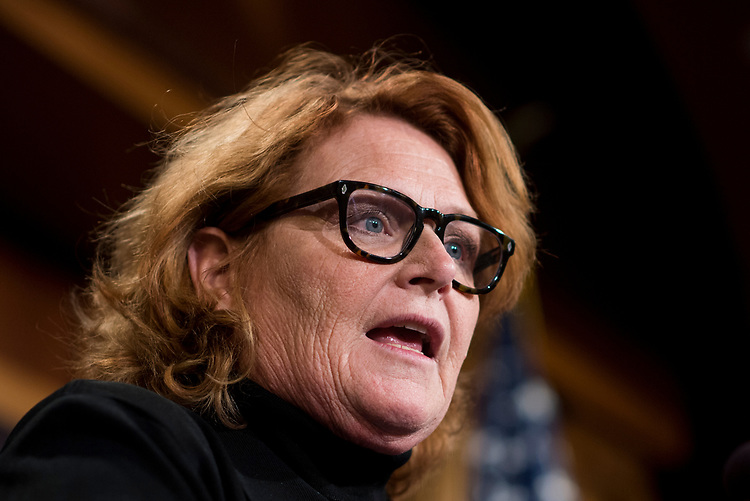 UNITED STATES - MARCH 14: Sen. Heidi Heitkamp, D-N. Dak., speaks during the Senate Democrats' news conference to unveil the FAMILY Act on Tuesday, March 14, 2017. (Photo By Bill Clark/CQ Roll Call)