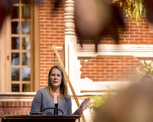 October 26, 2017. Raleigh, North Carolina.<br /> <br /> Audubon North Carolina Executive Director Heather Hahn spoke before the gathered crowd at the garden dedication. <br /> <br /> A new garden designed by Ben Skelton containing native Plants For Birds was dedicated at the North Carolina Executive Mansion.