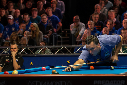 13.12.2012 London, England. USA player Dennis Hatch in action during the Mosconi Cup International Pool Championships  between Team Europe and Team America from York Hall.