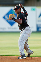 Second baseman Mychal Givens #11 of the Delmarva Shorebirds makes a throw to first base against the Kannapolis Intimidators at Fieldcrest Cannon Stadium on May 20, 2011 in Kannapolis, North Carolina.   Photo by Brian Westerholt / Four Seam Images