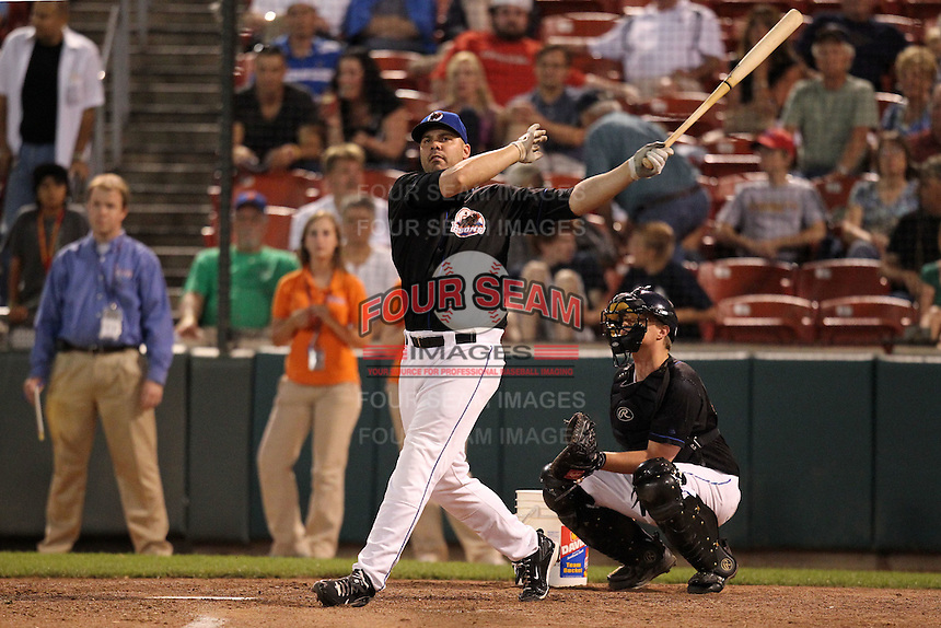 Buffalo Bisons Valentino Pascucci participates in a post game home run derby after a game vs. the Lehigh Valley IronPigs at Coca-Cola Field in Buffalo, New York;  August 1, 2010.  Buffalo defeated Lehigh Valley 2-1 in 10 innings.  Photo By Mike Janes/Four Seam Images