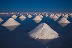 Bolivia, Altiplano, Salar de Uyuni, artificial salt mounts in Salar de Uyuni, largest salt pan in the world; the salt has been shoveled to mounts by salt workers for the salt to dry; sunset