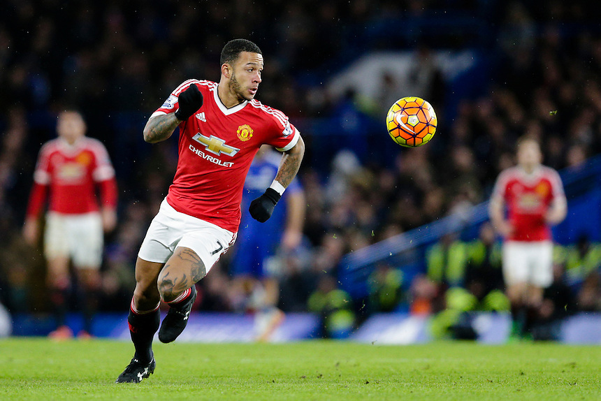 Manchester United's Memphis Depay in action during todays match  <br /> <br /> Photographer Craig Mercer/CameraSport<br /> <br /> Football - Barclays Premiership - Chelsea v Manchester United - Sunday 7th February 2016 - Stamford Bridge - London<br /> <br /> &copy; CameraSport - 43 Linden Ave. Countesthorpe. Leicester. England. LE8 5PG - Tel: +44 (0) 116 277 4147 - admin@camerasport.com - www.camerasport.com