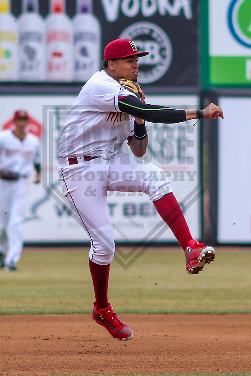 Wisconsin Timber Rattlers shortstop Gilbert Lara (11) during a Midwest League game against the Burlington Bees on April 11th, 2017 at Fox Cities Stadium in Appleton, Wisconsin.  Wisconsin defeated Burlington 4-3. (Brad Krause/Krause Sports Photography)