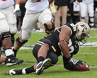 Purdue defensive tackle Mike Neal recovers a  Terrelle Pryor fumble. The Purdue Boilermakers defeated the Ohio State Buckeyes 26-18 at Ross-Ade Stadium, West Lafayette, Indiana on October 17, 2009..