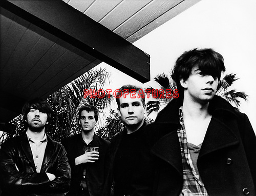 Echo & The Bunnymen 1981 Will Sargeant, Pete de Freitas, Les Pattinson and Ian McCulloch at the Tropicana Motel in Hollywood.