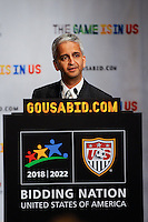 USA Bid Committee Chairman Sunil Gulati addresses the media at a press briefing at the St. Regis Hotel in New York, NY, on September 07, 2010.
