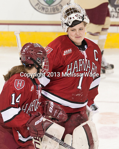 Jillian Dempsey (Harvard - 14), Laura Bellamy (Harvard - 1) - The Boston College Eagles defeated the visiting Harvard University Crimson 3-1 in their NCAA quarterfinal matchup on Saturday, March 16, 2013, at Kelley Rink in Conte Forum in Chestnut Hill, Massachusetts.