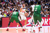 Real Madrid's player Rudy Fernandez and Othello Hunter and Unicaja Malaga's player Jamar Smith and Viny Okouo during match of Liga Endesa at Barclaycard Center in Madrid. September 30, Spain. 2016. (ALTERPHOTOS/BorjaB.Hojas) /NORTEPHOTO