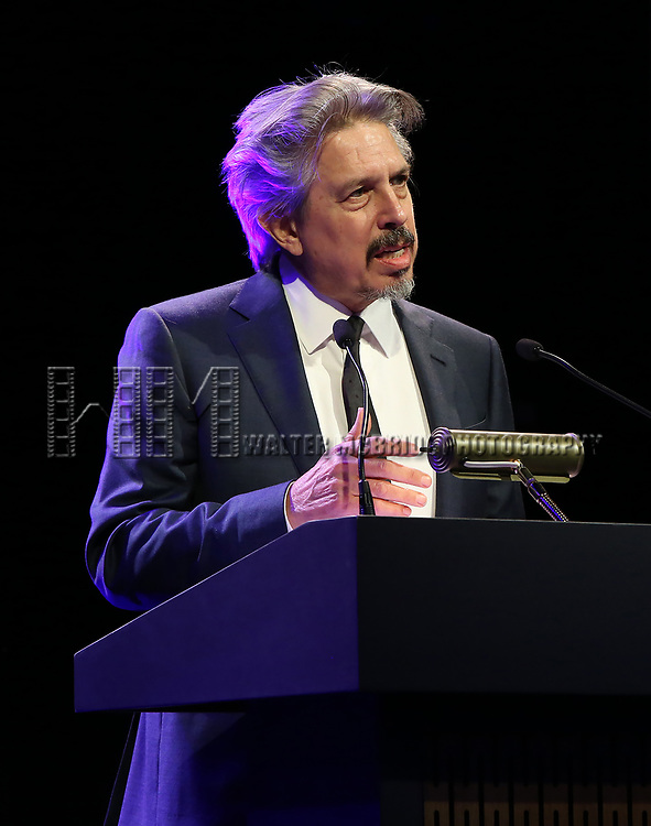 Elliot Goldenthal  on stage at the Stage Directors and Choreographers Foundation event honoring Julie Taymor with the Mr. Abbott Award at the Bohemian National Hall on April 2, 2018 in New York City.